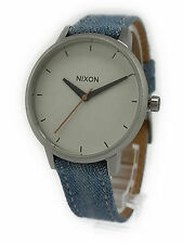NIXON The Kensington Leather Washed Denim/Cream Quartz Watch A108 1601 Brand New