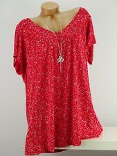Shirt mit Kette Top Tunika Bluse Lagenlook Größe 46 - 54 one size rot geblümt w