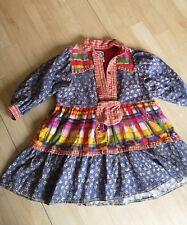 Girls TRUE VINTAGE Patchwork Dress Age 6 7 8 70s 80s Hippie Boho Blue Pink