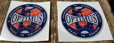 TWO (2) OPTIMUS 8R PRIMUS 111 BOX TIN STICKER DECAL LANTERN STOVE REPLACEMENT