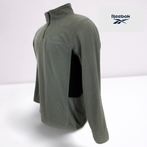 Mens Reebok 1/4 Zip Running Jogging Fleece Sweater Jacket Gray/Black Sz Medium