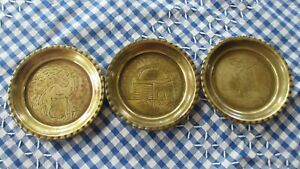 VINTAGE SOLID BRASS PIN DISHES X3  MIDDLE EAST CAMEL PALM TREE MOSQUE 9 CMS