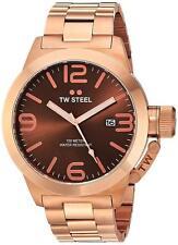 TW Steel CB192 Men's Canteen Quartz 50mm Brown Dial Rose Gold-Tone Watch