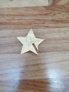 Small engraved acrylic star personalised Julian glass decoration wedding