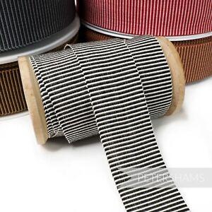 30mm 'Fine Stripe' Cotton Millinery Petersham Hat Ribbon for Millinery - 1m
