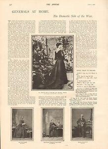 1900 ANTIQUE PRINT - BOER WAR-GENERALS AT HOME,DOMESTIC SIDE OF THE WAR