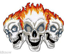 "THREE SKULLS FLAME EMBROIDERED BACK PATCH 20CM X 16.5CM (8"" X 6 1/2"")"