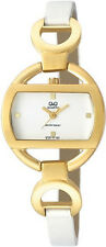 Q&Q by Citizen Q729J101Y White Band/Dial Gold Tone Case Women's Watch GREAT GIFT