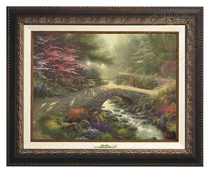 Thomas Kinkade Bridge of Faith 12 x 16 Canvas Classic (Aged Bronze Frame)