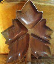 Vintage Wooden Sectional Serving Platter Maple Leaf