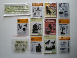Stampendous Halloween clear stamps Studio G Witch Pumpkin Cat Hat lot of 12