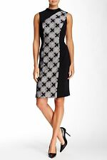 $595 Pamella Pamella Roland Beaded Mock Neck Plaid Midi Dress Black White 6 S