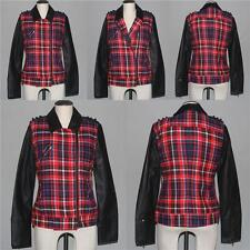 Hurley Red Plaid Faux Leather COMMODORE MOTO Quilt Lining Jacket Wm M NWT $89.50