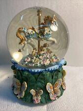 San Francisco Music Box Butterfly Carosel Waterglobe Waltz Of The Flowers Mint