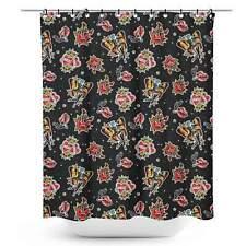Sourpuss Punk Rock Girl Shower Curtain Retro Tattoo Punk Rockabilly Homewares