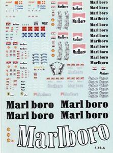 Carpena decals for cars 1/18 - Marlboro  (Ref 1.18.A)