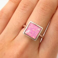 925 Sterling Silver Real Pink Opal Gemstone Ring Size 7