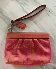 Coach Small Wristlet Pink Orange Canvas Great Condition Clutch