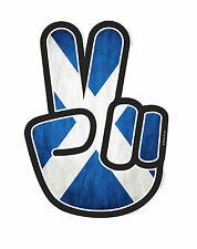 PEACE Hand Hippy Style & Scotland Scottish Saltire Flag Vinyl Car Sticker Decal