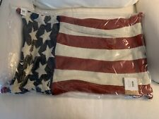 Pottery Barn American flag w/Bells Pillow Cover~Stars and Stripes~Knit