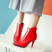 Women Pointed Toe Patent Leather Ankle Boots Shoes Stilettos High Heel Shoes Hot