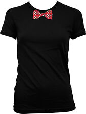 Polka Dot White And Red Bowtie  Juniors T-shirt