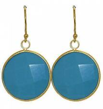 yellow gold plate fish hook Nwt earring dangle turquoise disc ¾ round