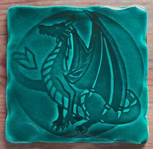 Handmade tile, Dragon design - Teal colour glaze, made in  U.K.