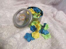 Scrap N Bloom artificial flowers for scrapbook? blue, green, yellow metal box