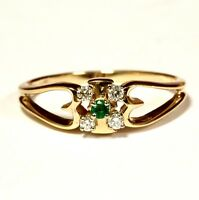 14k yellow gold .08ct VS G diamond green emerald ring 2.6g estate vintage