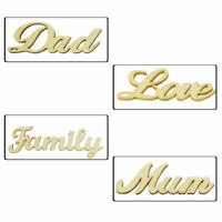 Family Mum Dad Love Text Cutouts Wooden Embellishments for Arts and Crafts Decor
