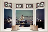 Huge 3D Bay Window Tower Bridge Of London View Wall Stickers Wallpaper Mural 874