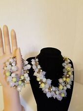 Graziano cluster nacklace & bracelet Iradesent beads metal rosette faux pearl