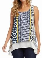 Karen Kane Womens Blouse Blue Size Medium PM Petite Layer-Look Printed $118 775