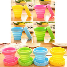 Silicone Foldable Cup Collapsible Drink Mug Travel Outdoor Camping Water Cup.hot Pink
