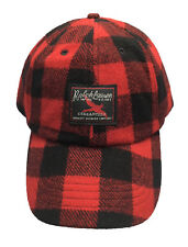 Polo Ralph Lauren Mens Wool Ball Cap Hat GREEN RED PLAID One Size Adjustable