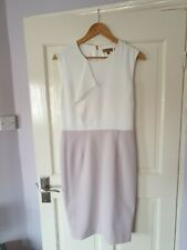 Worn Twice £169 Ted Baker Size 4 UK 12 14 White Lilac Ruffle Pencil Dress