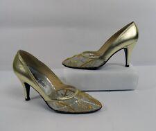 Vintage 70s Stuart Weitzman for Neiman Marcus Gold Leather Pump Heels 7AA Narrow