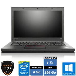 "LENOVO T450 14"" HD+ i5 5300U 8Go SSD 256 Go + HDD 1 To W10 PRO GARANTIE"
