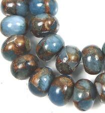 10x7mm Aquamarine Quartz with Pyrite / Gold Vein Rondelle Beads (28)