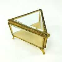 Vtg Stylebuilt Ormalu Jewelry Casket  Beveled Glass Footed Triangle Filagree