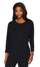 Miss Elaine Women's Sesoire Soft Modal Knit Sleep Top, Black, Medium
