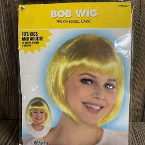 Women's short bob cut fancy wigs dress play costume Golden Yellow One Size