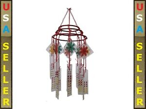 ALMOST GONE glass wind chime vintage chinese restaurant style hand painted