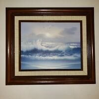 VTG ORIGINAL OIL PAINTING CANVAS Seascape MOON LIGHT OCEAN WAVES SEA ART