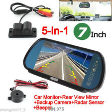 7 TFT LCD Monitor Mirror Wireless Reverse Rear View Backup Dash Camera DVR Radar