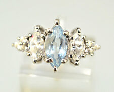 14K WHITE GOLD MARQUISE BLUE TOPAZ RING WITH 8 SPARKLING CZ ACCENTS SIZE 6