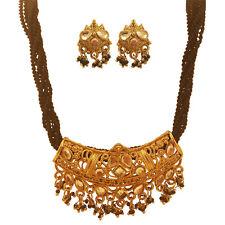 Pendant Set Golden Black Cord Clear Stone Stylish Earrings Fashion Women Ethnic