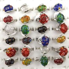 Mix Wholesale 50PCS Fashion Flower Murano Glass Rings Women's Jewelry Free Ship