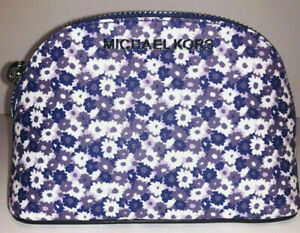 NWT Michael Kors Woman Travel Cosmetic Pouch Leather Floral Amethyst